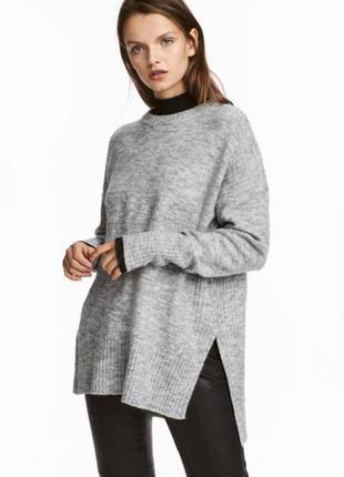 Базовый свитер оверсайз с боковыми разрезами с шерстью и альпакой h&m