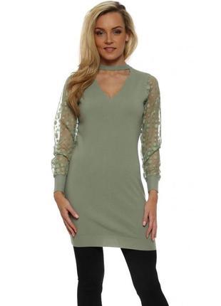 Длинный свитер платье оливково зеленого цвета с чокером laetitia mem