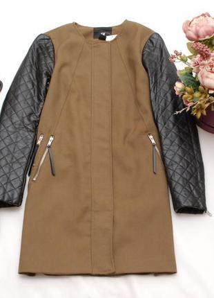 Новое стильное пальто, куртка с кожаными рукавами h&m 6-8uk