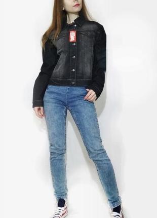 Куртка джинсовая серая пиджак джинсовый хлопок-100%