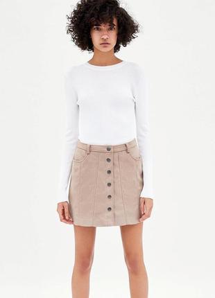 Пудровая юбка на кнопках под замш от zara (зара)!