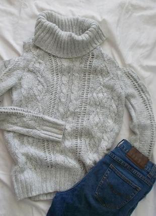 Серый свитер f&f с вырезами на плечах с открытыми плечами