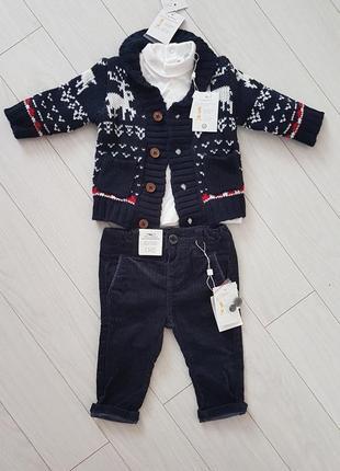 Новый комплект, костюм на мальчика с оленями новый год 6-9мес