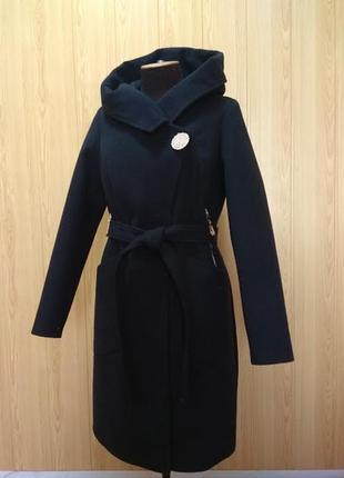 Демисезонное пальто кашемир с капюшоном 46-56