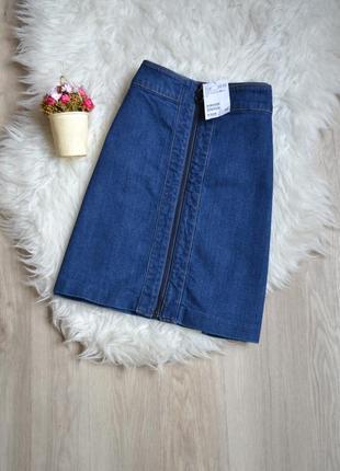 Новая джинсовая юбка-трапеция h&m с молнией