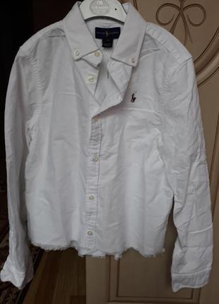 Новая белая рубашка ralph lauren на 14 лет