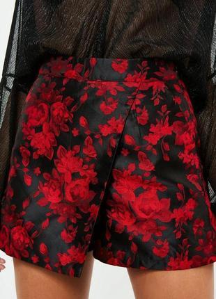 Шорты юбка на высокой посадке с вышивкой от missguided5 фото