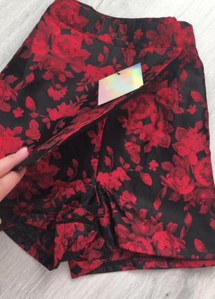 Шорты юбка на высокой посадке с вышивкой от missguided4 фото