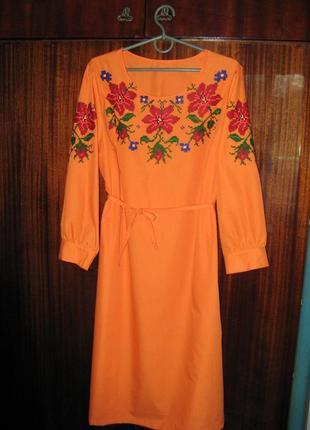 Платье вышиванка оранжевое ручной работы, ручная вышивка