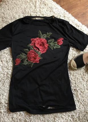 Футболка с вышивкой чёрная футболка туника oversize