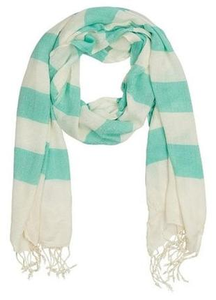 Новая полосатая шаль colin's, шарф с биркой, принт - полоса белая и мятная