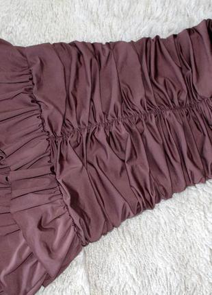 Вечернее короткое платье цвета какао