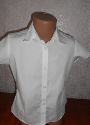 Рубашка блуза блузка классика белая школьная m&s 7-8 лет р.122