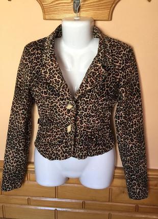 Леопардовый пиджак qianshiou