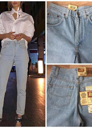 Новые винтажные мом джинсы на высокой посадке