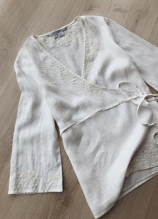 Льняная блуза вышиванка zara