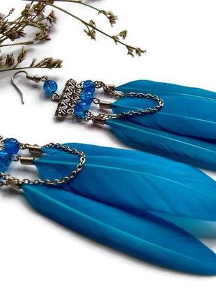 Сережки з блакитним пір′ям
