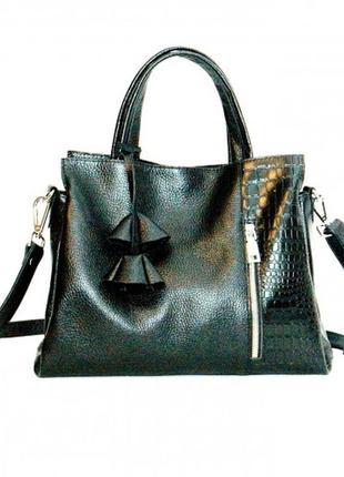 Кожаная черная сумка флотар+кроко