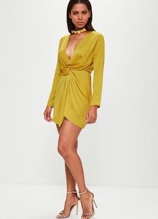 Роскошное сатиновое платье с декоративным узлом missguided ms210
