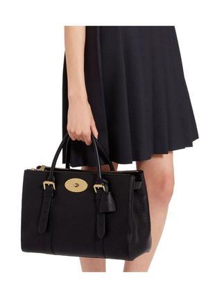 Кожаная сумка mulberry bag double zip bayswater