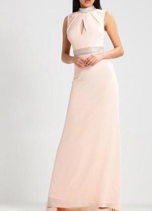 Красивейшее пудрово-розовое платье в пол с бисером  на выпускной/свадьбу