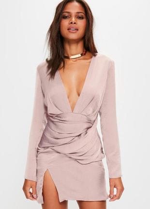 Роскошное платье пудрового цвета с длинным рукавом missguided ms214