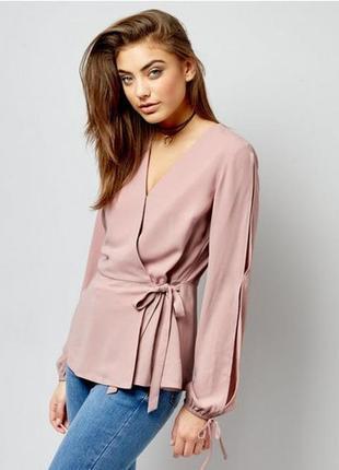 Блуза топ на запах, бледно-розовая