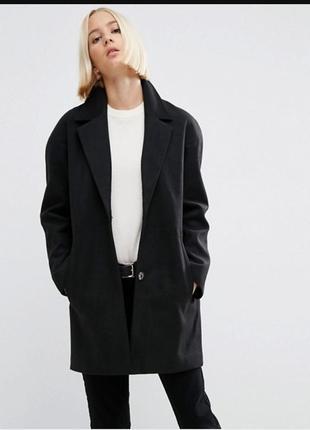 Черное пальто кокон оверсайз бойфренд oversize на копках topshop, s
