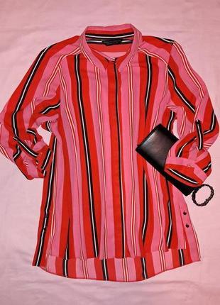 Полосатая блуза, рубашка удлиненная спинка