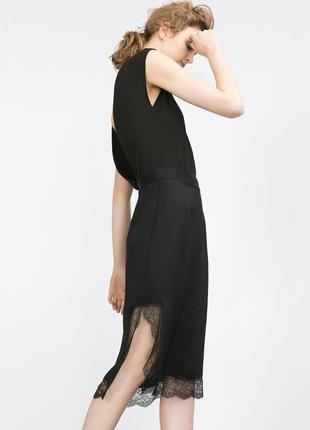 Очень шикарная юбка-миди, с кружевом zara