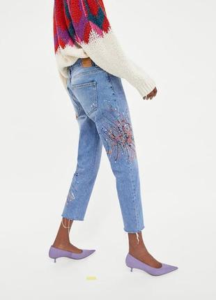 """Шикарные джинсы-сигареты с краской и бисером  от """"zara"""" - 40 размер"""