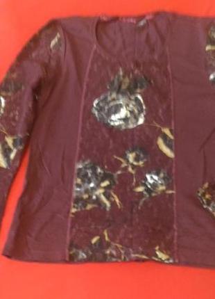 Блузка цвета марсала, кружевная, р.10