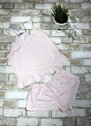 Нежная пижама с топом и шортами, домашняя, ночнушка