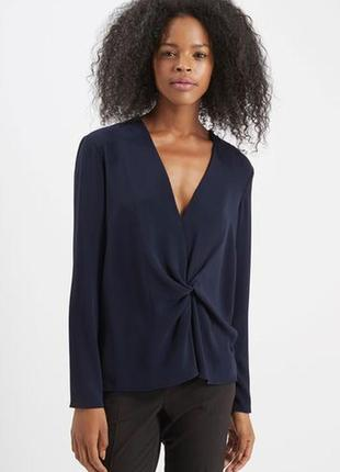 Блуза стильная оригинальная синяя деловая