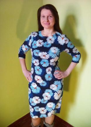 Оригинальное теплое платье с рукавом три четверти