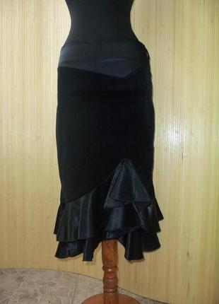 Чёрная вельветовая юбка миди с  атласной баской / с рюшами line board by maki m/l