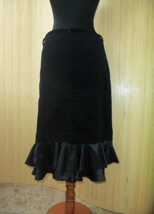 Чёрная вельветовая юбка миди с  атласной баской / с рюшами line board by maki m/l2