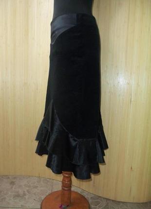 Чёрная вельветовая юбка миди с  атласной баской / с рюшами line board by maki m/l3