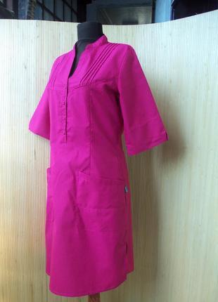 Розовое платье халат с карманами с воротником