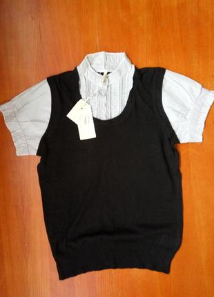 Трикотажная жилетка с блузой в полоску be young