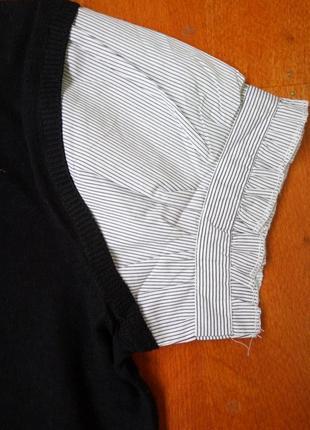 Трикотажная жилетка с блузой в полоску be young4
