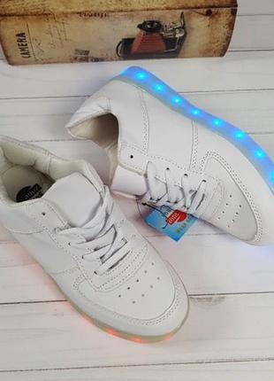 Белые кроссовки форсы со светящейся подошвой led подсветка