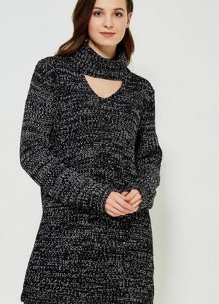 Теплое платье свитер туника  черное