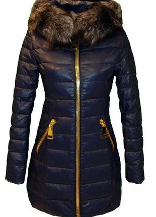 Кожаное пальто шикарный пуховик shin show кожаный натуральный мех чернобурки