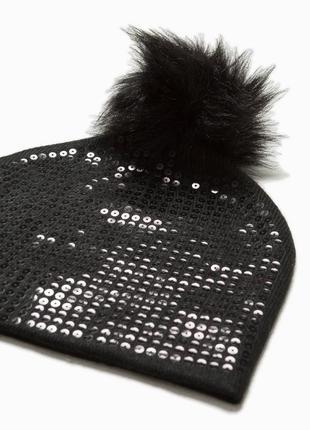 Шапка zara бини шапка с помпоном шапка с пайетками