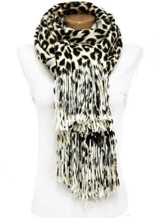 Шарф-палантин с леопардовым принтом. шарфик. платок. накидка. понсе.