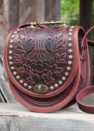 a53609d434fd Кожаная сумка коричневая кросс-боди с орнаментом бохо Ручная Работа ...