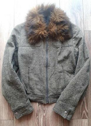 Тёплая куртка с мехом шерсть