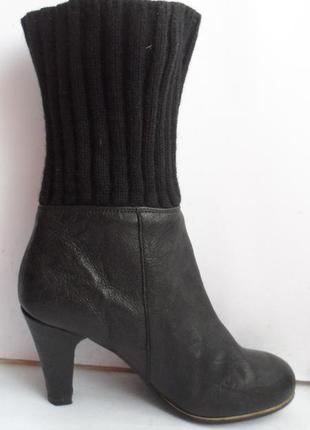 Кожаные полусапожки, деми сезонные сапоги чулки ботинки с вязаным верхом вязаные