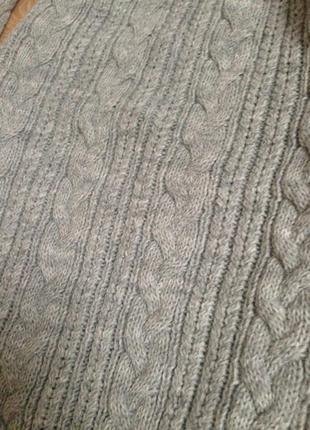 Серое меланжевое вязаное платье длина ниже колен шерсть+акрил2